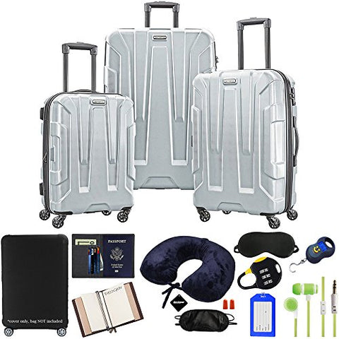 Samsonite Centric 3-Piece Hardside Luggage Set, Silver with 10pc Accessory Kit