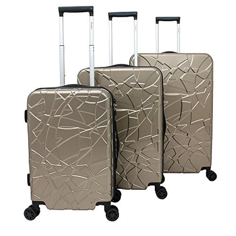 Chariot Crystal 3-Piece Expandable Lightweight Spinner Luggage Set - Champagne