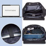 BISON DENIM Unisex Canvas Backpack Large School Bag Travel Hiking Daypack Rucksack with Usb Charger Fit 15Inches Laptops Black