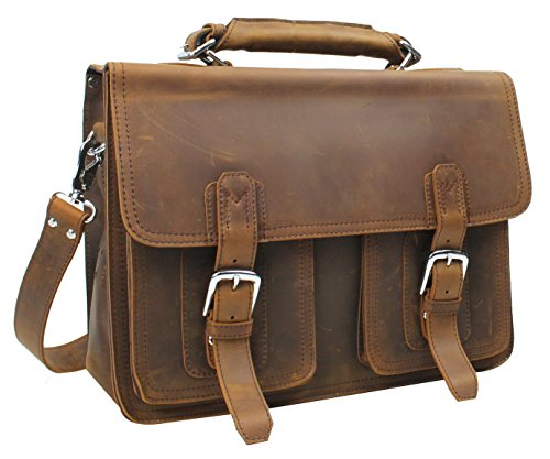 "Vagabond Traveler 20"" Super Large Full Grain Leather Briefcase Heavy 8Lb Lb08. Vintage Brown"