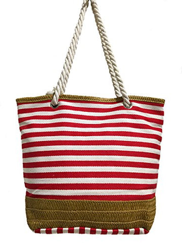 We We Beach Bag Waterproof Canvas Tote Straw Bag - Large (Style 04)