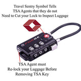 TSA Approved Cable Luggage Locks, 6 Pack, Easy Read Dials with Alloy Body