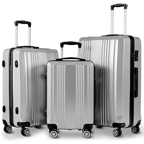 "GHP 20"" 24"" 28"" Silver Gray ABS Hard Shell Travel Suitcase Trolleys with TSA Lock"
