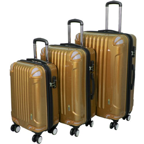 AMKA 3-Piece Tsa Locks Hardside Upright Spinner Luggage Set, Gold