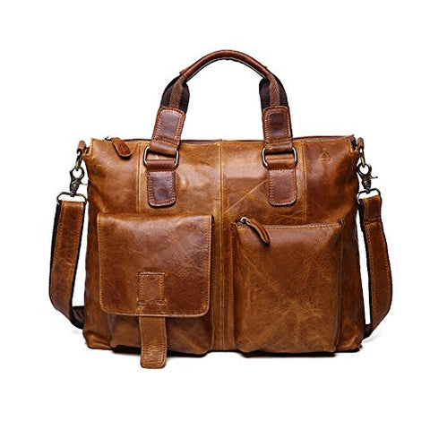 Sealinf Men'S Retro Leather Handbag/Shoulder Bag Business Laptop Briefcase (Light Brown)