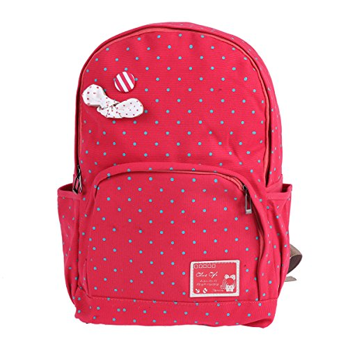 Damara Students Bowknot Aornt Canvas Polka Dot Zipper School Bag,Red