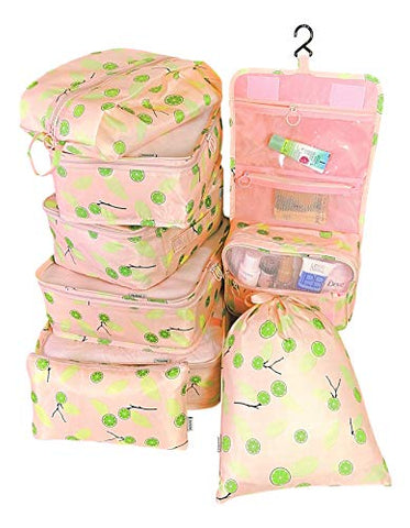 Packing Cubes Backpack Organizers Set for Carry on Travel Bag Luggage Cube (Pink Lime 7+1pcs)