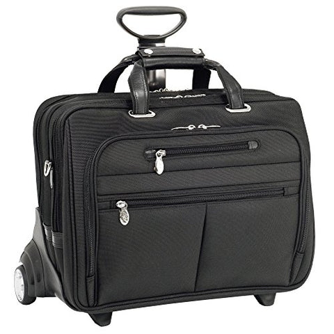 "Mcklein USA 76535 Ohare, 15.6"" Nylon Checkpoint Friendly Wheeled Laptop Briefcase, 18""x9.25""x14.5"", Black"