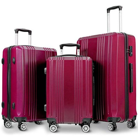 "GHP 20"" 24"" 28"" Wine Red ABS Hard Shell Travel Suitcase Trolleys with TSA Lock"