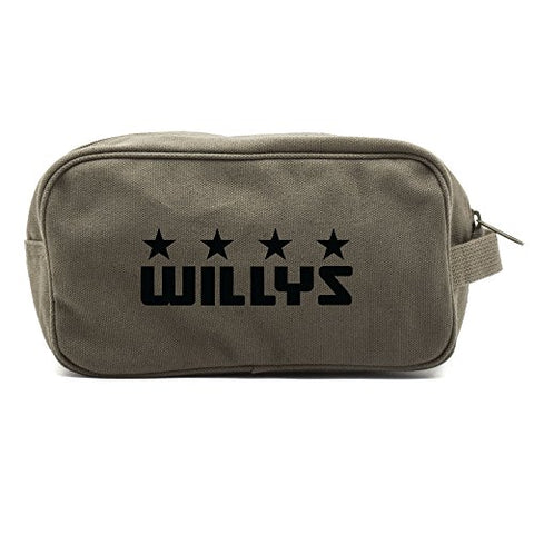 Willys Jeep Freedom Stars Military Canvas Shower Kit Travel Toiletry Bag Case in Olive & Black
