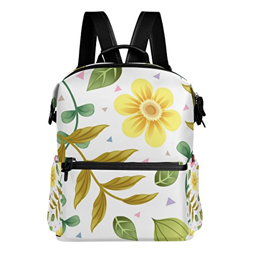 ColourLife Floral Pattern Stylish Casual Shoulder Backpacks Laptop School Bags Travel Multipurpose Daypack for Women Girls Kids