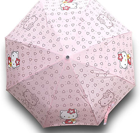 Finex Hello Kitty Pink Manual Tri-Fold Folding Compact Travel Rain Umbrella Uv Protection Strong