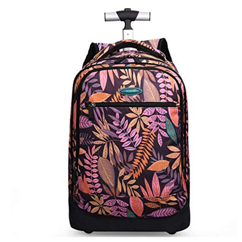 Hcc& Portable Travel School Wheeled Backpack, Carry-On Luggage With Anti-Theft Zippers Rolling