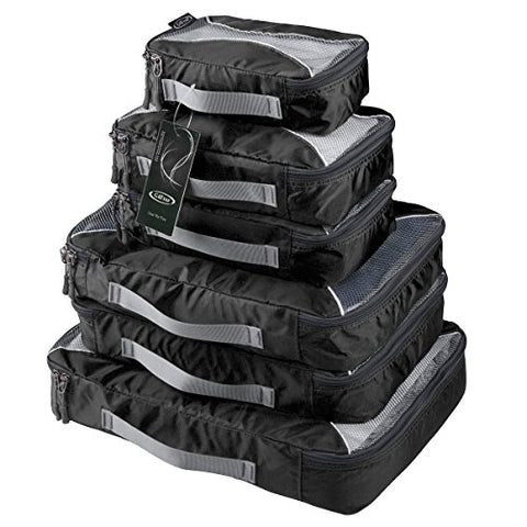 G4Free Packing Cubes 6pcs Set Travel Accessories Organizers Versatile Travel Packing Bags(Black)