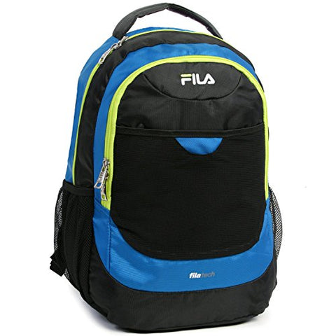 Fila Colton School Computer Tablet Bag Backpack, Blue/Neon Lime