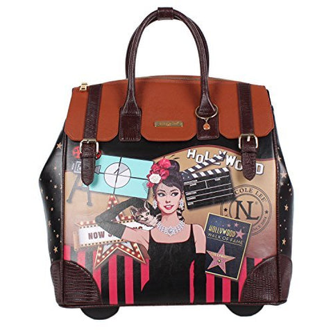 Nicole Lee Women's Exclusive Hollywood Print Rolling Business Tote, Laptop Compartment, Star