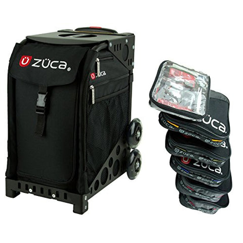 Zuca Obsidian Sport Insert Bag with Black Frame (non-flashing wheels), and Special Set of 5 Packing Pouches + Toiletry Bag Bundle
