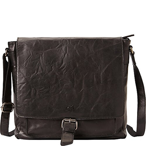 Mancini Leather Goods Cross Body Bag with RFID Secure Pocket (Black)