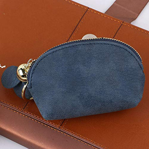 Fashion Women Leather Small Wallet Card Key Holder Zip Coin Purse Clutch Bag CN (Color - Blue)