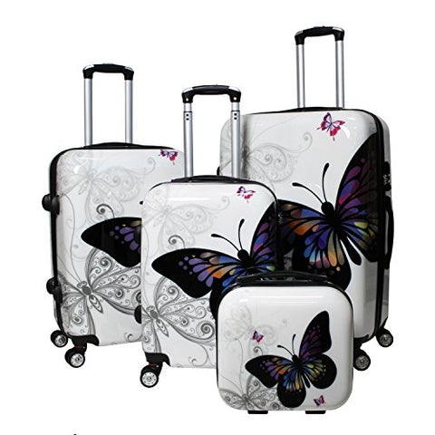 World Traveler 4 Piece Hardside Upright Spinner Luggage Set, Butterfly, One Size