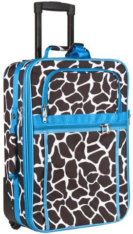 Blue Giraffe Print 20 Inch Expandable Carry On Rolling Luggage