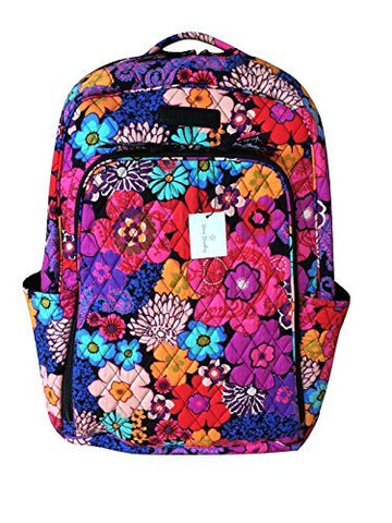 Vera Bradley Laptop Backpack (Updated Version) with Solid Color Interiors (Floral Fiesta with Black Interior)