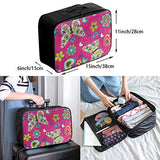 Travel Bags Bright Floral Print Butterfly Portable Storage Inspiring Trolley Handle Luggage Bag