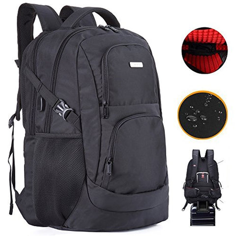 Laptop Backpack 18 Inches Waterproof Computer Back Pack With Usb Charge Port Shockproof