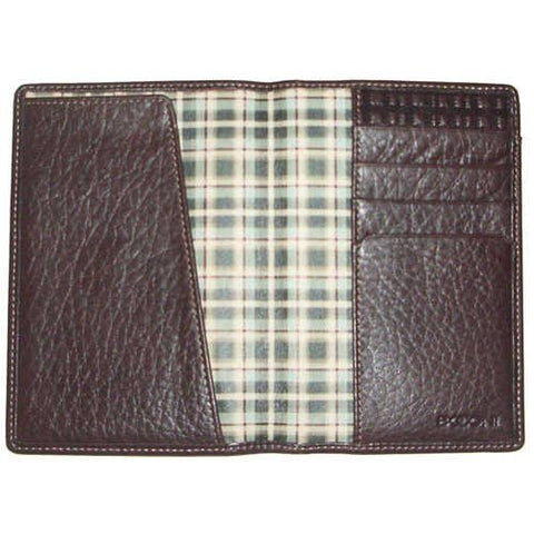 Boconi Tyler Tumbled Passport Case (Coffee w/plaid)
