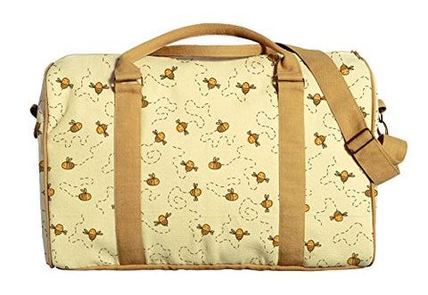 Bees Printed Oversized 100% Cotton Canvas Duffle Luggage Travel Bag Was_42