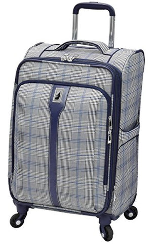"London Fog Knightsbridge Hl 21"" Expandable Spinner, Grey/Navy Plaid"