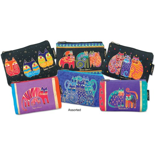 Laurel Burch Cosmetic Bag Zipper Top, Assorted Feline Prints