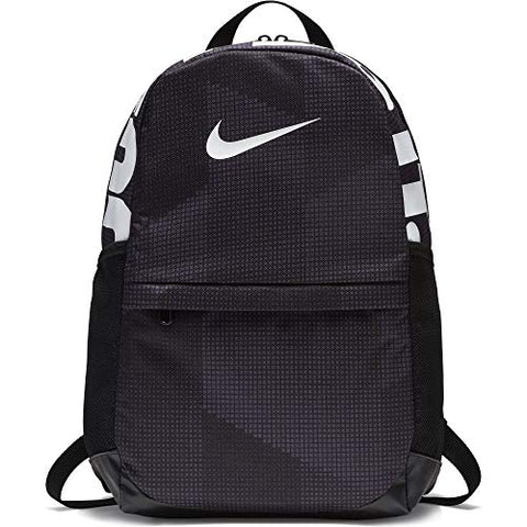Nike Kid'S Brasilia Printed Backpack, Black/Black/White, One Size