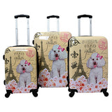 Chariot Doggie 3-Piece Expandable Hardside Lightweight Spinner Luggage Set, Paris