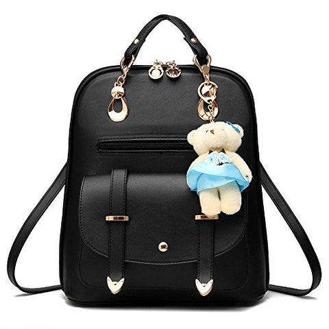 Bag Wizard Oasd Women'S Backpack Leather Multi Way Girls School Cartoon Pendant, Black