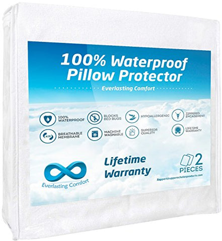Everlasting Comfort 100% Waterproof Pillow Protector, Hypoallergenic, Breathable Membrane, Lifetime