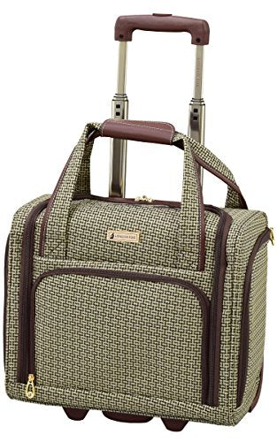 "London Fog Softside 15"" Under The Seat Bag, Tan Square Jacquard"