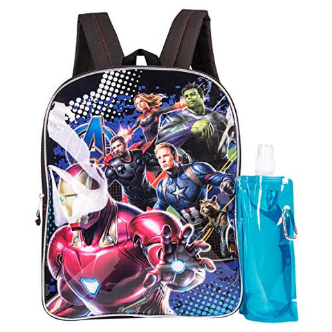 Marvel Avengers Backpack Combo Set - Avengers Boys' 3 Piece Backpack Set - Ironman & Captain America Backpack Waterbottle and Carabina (Black/Blue)