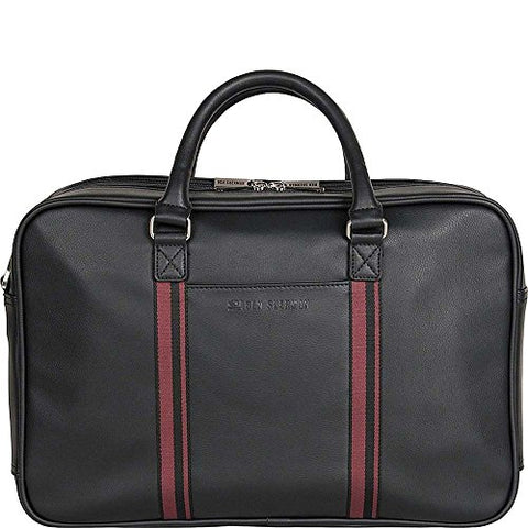 "Ben Sherman Kingsway Leather Double Compartment 15"" Computer Briefcase in Black"