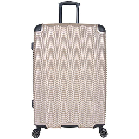 "Kenneth Cole Reaction Wave Rush 28"" Lightweight Hardside PET 8-Wheel Spinner Expandable Checked Suitcase, Champagne"