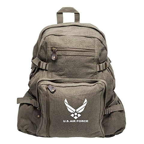 United Sates Air Force Emblem Army Sport Heavyweight Canvas Backpack Bag in Olive & White, Large