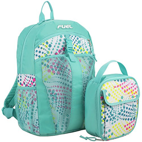 Fuel Backpack & Lunch Bag Bundle, Turquoise/Wild Dots Print