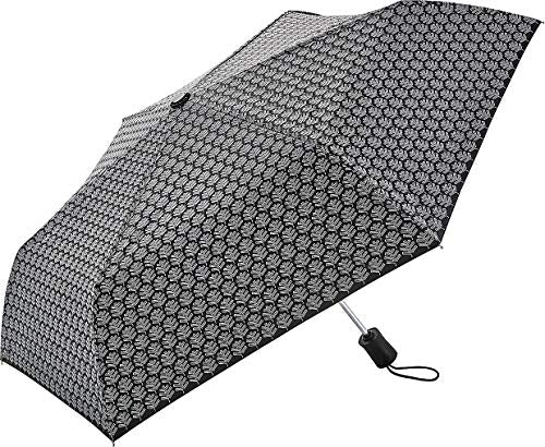 Coolibar UPF 50+ Compact Travel Umbrella - Sun Protective (One Size- Black/White Logo)