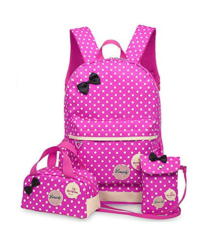Fanci 3Pcs Polka Dot Bowknot Elementary Kids School Backpack Bookbag Set for Girls Princess Style