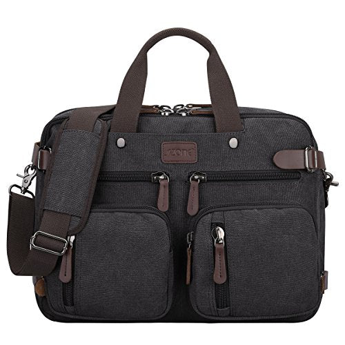 S-ZONE 3-Way Vintage Laptop Backpack Messenger Shoulder Bag Hybrid Briefcase BookBag Rucksack Satchel