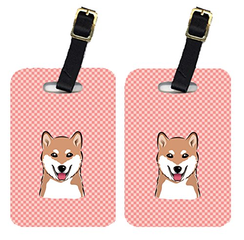 Caroline's Treasures BB1225BT Pair of Checkerboard Pink Shiba Inu Luggage Tags, Large, multicolor