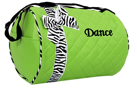 Dance Bag - Quilted Zebra Duffle In Green