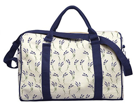 Lavender Decorative Pattern Printed Canvas Duffle Luggage Travel Bag Was_42