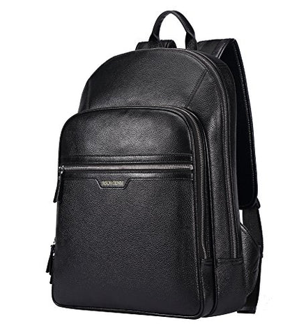 BISON DENIM Classic School Laptop Backpack Genuine Leather Book Bag College Travel Hiking Daypack
