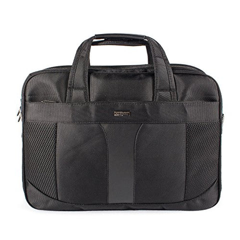 Bugatti Gregory Executive Briefcase, 600D Nylon with Synthetic Leather, Black